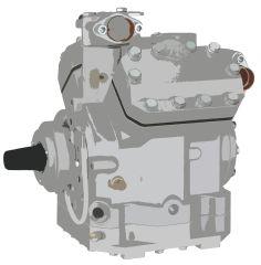 Compressor Assy, Bitzer, 647 CC, R134a, 4 Grv, MIO Fittings, Beadlock